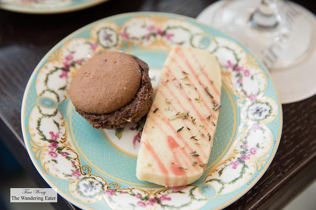 Chocolate macaron and rosemary shortbread