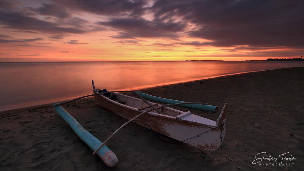 sunset on the beach at Seasun Beach Resort, Santa Cruz, Zambales