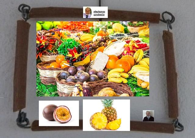 montaje con frutas tropicales, Panasonic DMC-FZ62
