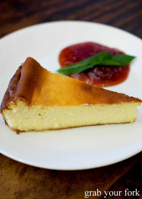 Baked cheesecake at Gure Txoko Basque Club in Sydney