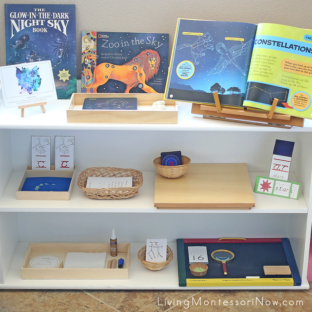 Montessori Shelves with Constellation-Themed Activities