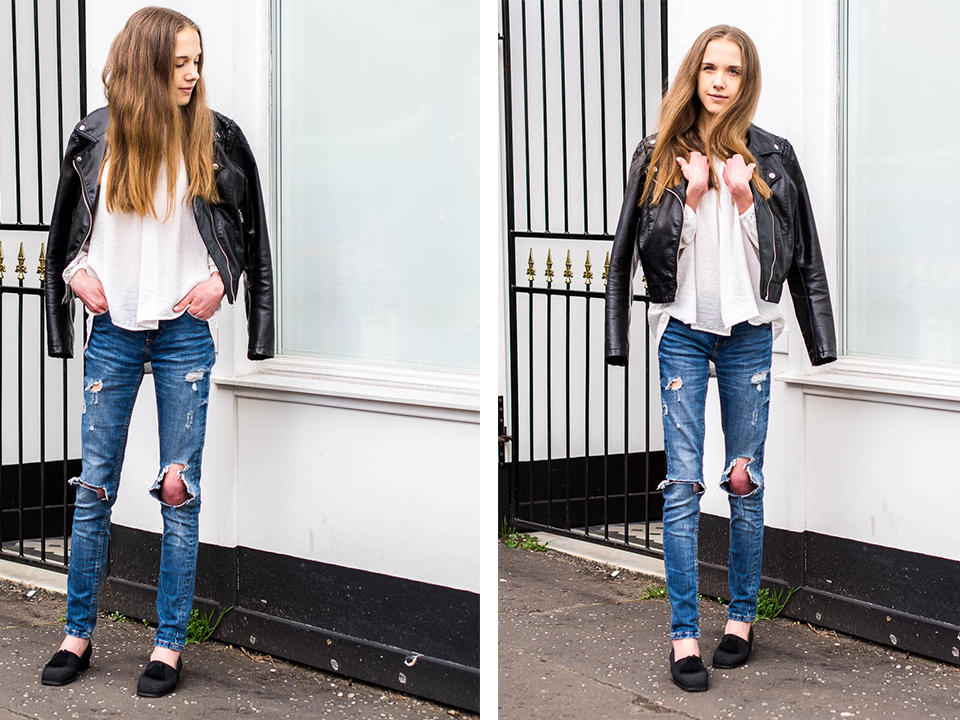 distressed-denim-jeans-biker-jacket-tassel-flats-outfit