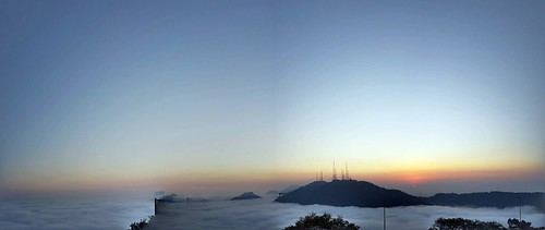 View from Christ the redeemer above the clouds
