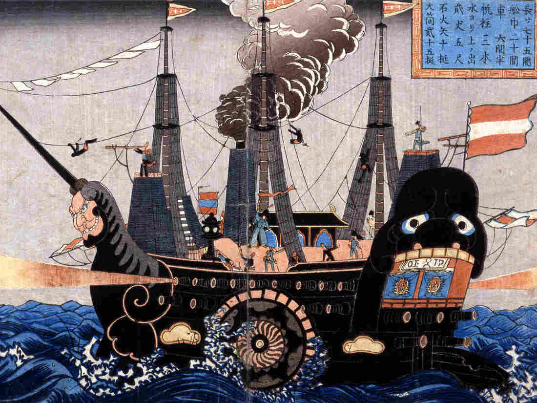 Japanese depiction of one of Perry's black ships.
