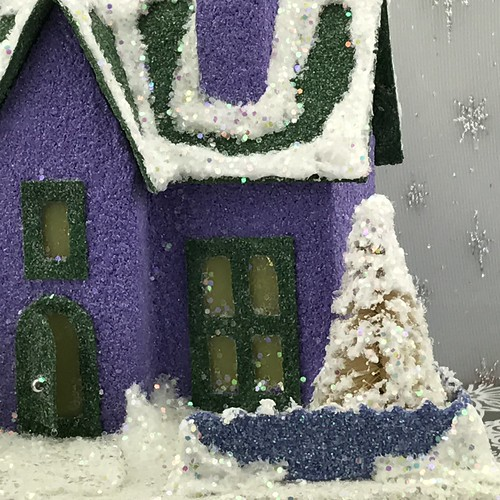 purple and green Putz house