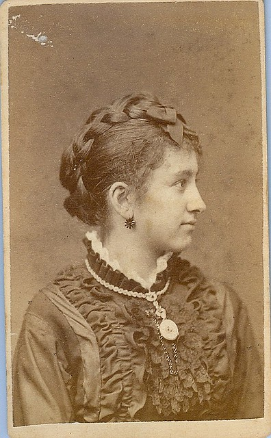 Woman with braids and jewelry in profile cdv
