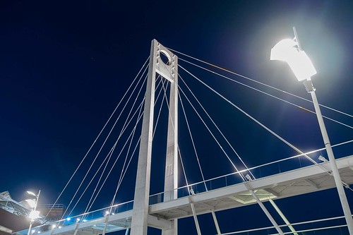 Bridge in the blue night sky