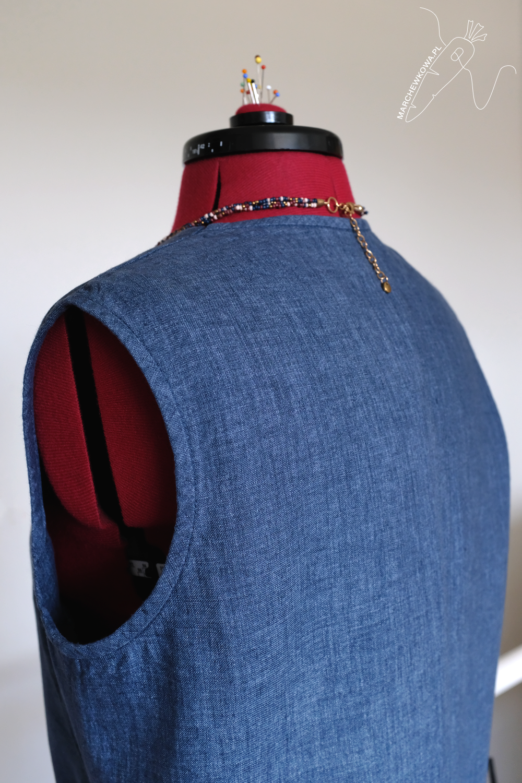 marchewkowa, blog, szycie, sewing, rękodzieło, handmade, moda, styl, vintage, retro, repro, 1960s, Wrocław szyje, w starym stylu, Burda 7111, linen, len, wykrój pojedynczy, przedruk, jeansowy, denim lniany