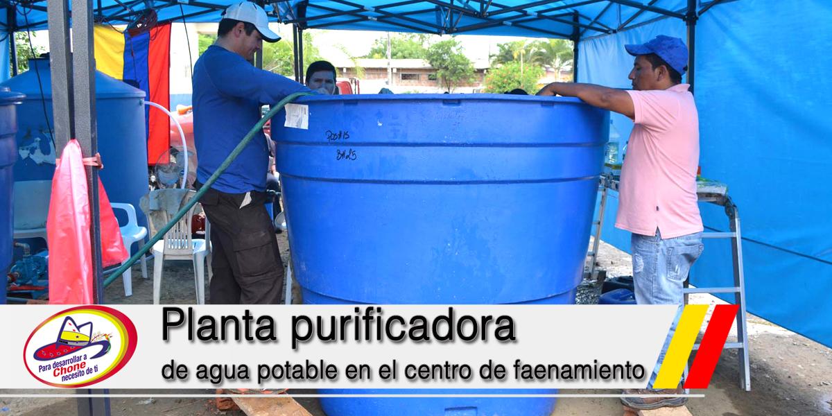 Planta purificadora de agua potable en el centro de faenamiento