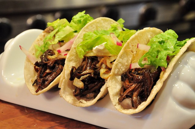 BBQ Pulled Portobello Stem Tacos
