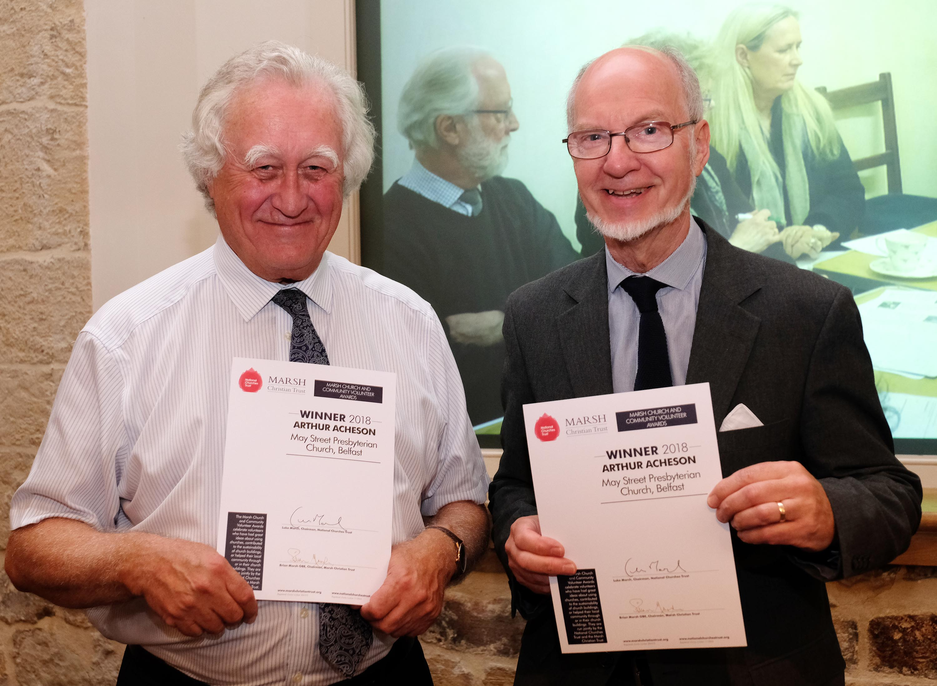 Arthur Acheson and Brian Marsh from the Marsh Christian Trust (c Mike Swift)