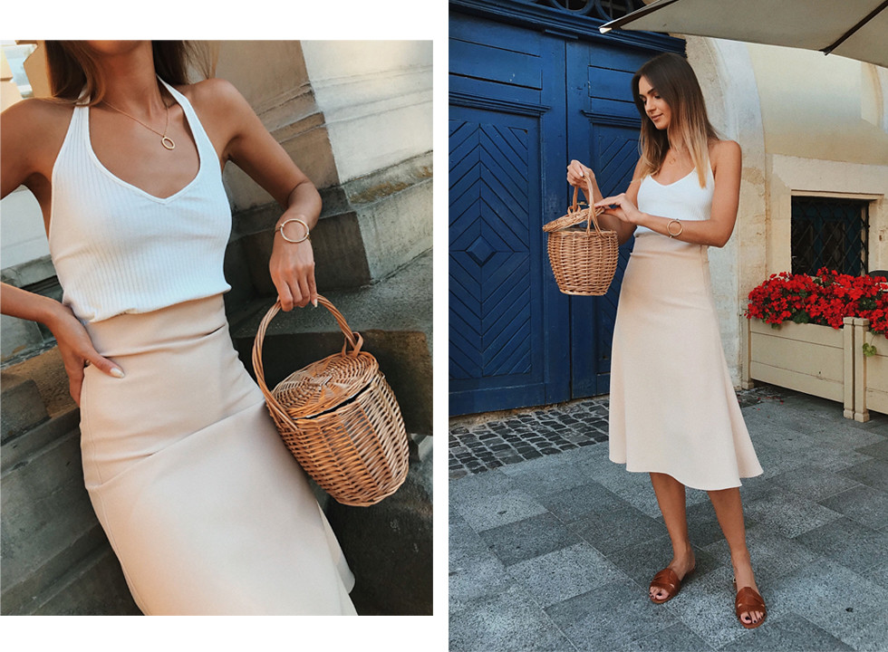 minimalistic-street-style-outfit-white-top-and-nude-midi-skirt