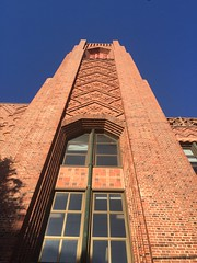 Beautiful brickwork on Roosevelt Middle School, San Francisco, opened in 1930. An Art Deco building designed by San Francisco architect Timothy Pflueger.