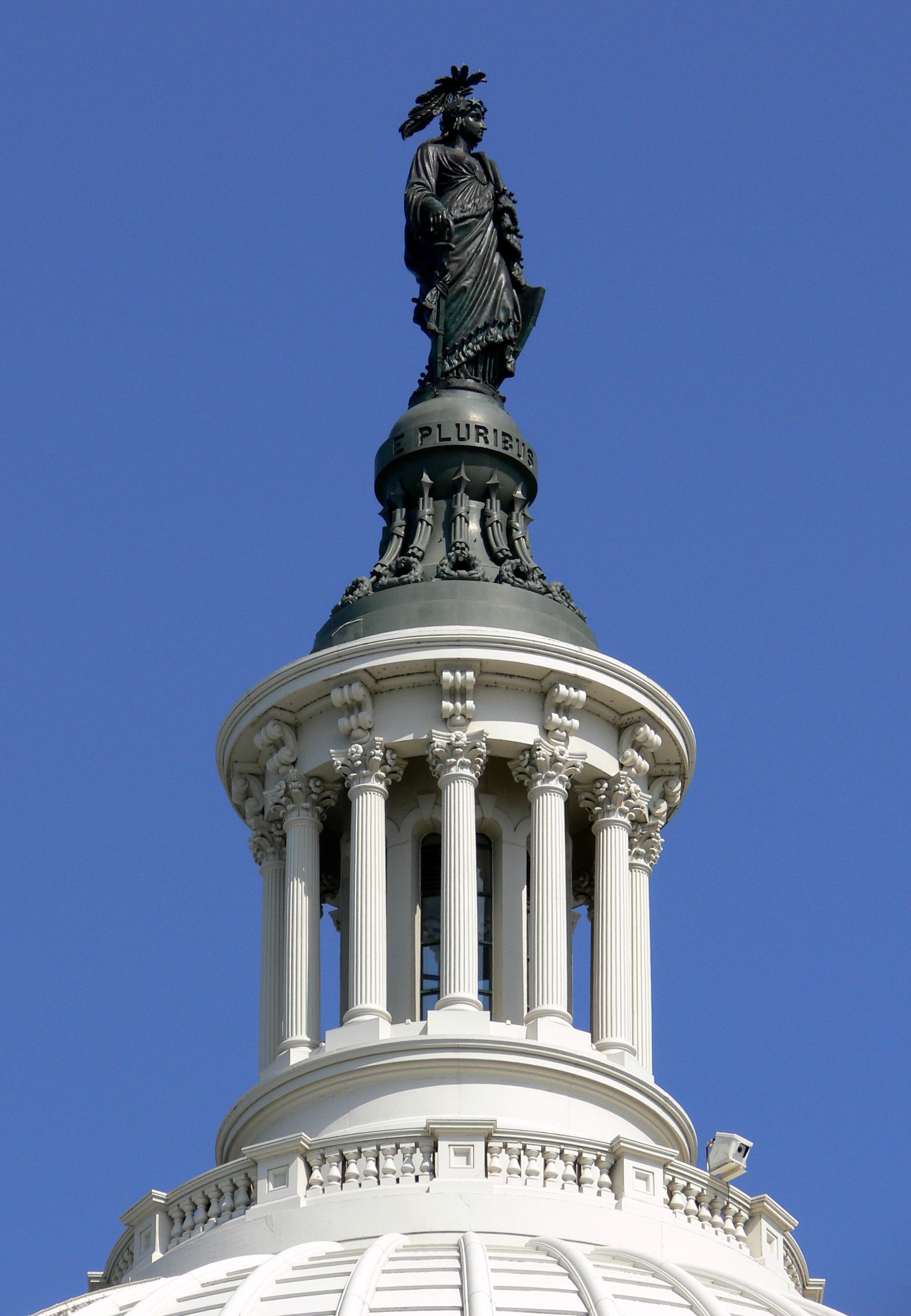 Statue of Freedom and lantern on the dome of the United States Capitol, Washington D. C.