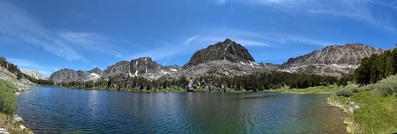 Panorama shot from the shore of Sixth Lake - the trail peters out completely at this point