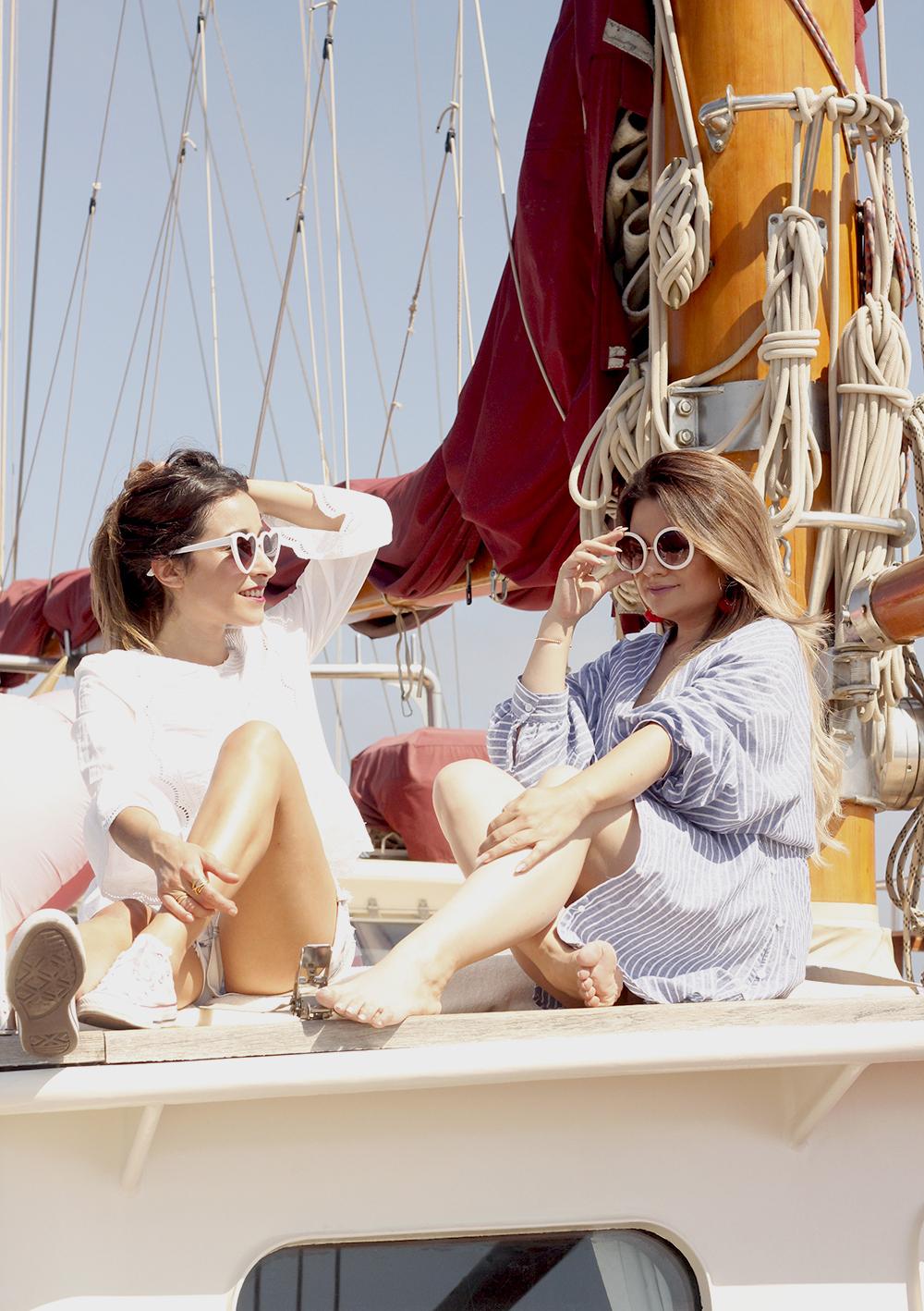 boat ride in Barcelona lottie london make up summer street style outfit 201809