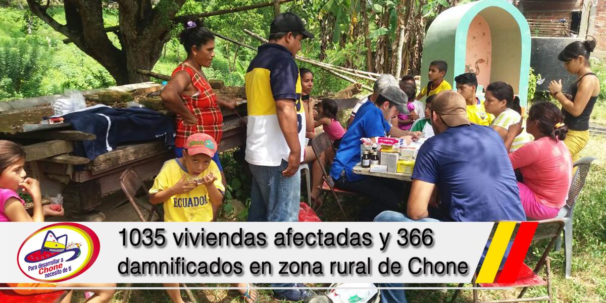 1035 viviendas afectadas y 366 damnificados en zona rural de Chone