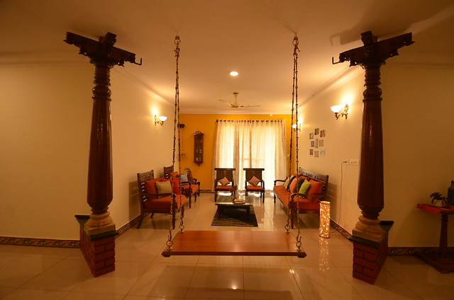 Traditional south Indian house design with pillars