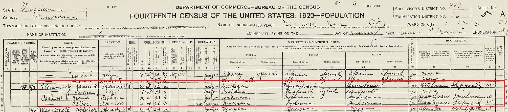 Fleming James b abt 1864 Mich 1920 census VA
