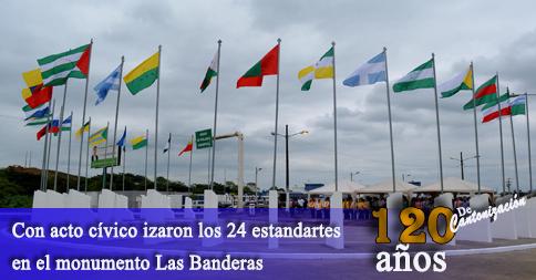 Con acto cívico izaron los 24 estandartes en el monumento Las Banderas
