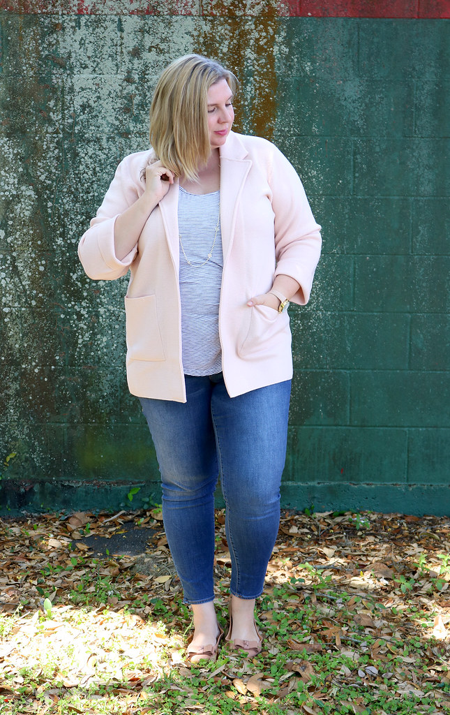 blush sweater cardigan, skinny jeans, black and white stripe luxe tank, bow flats 2