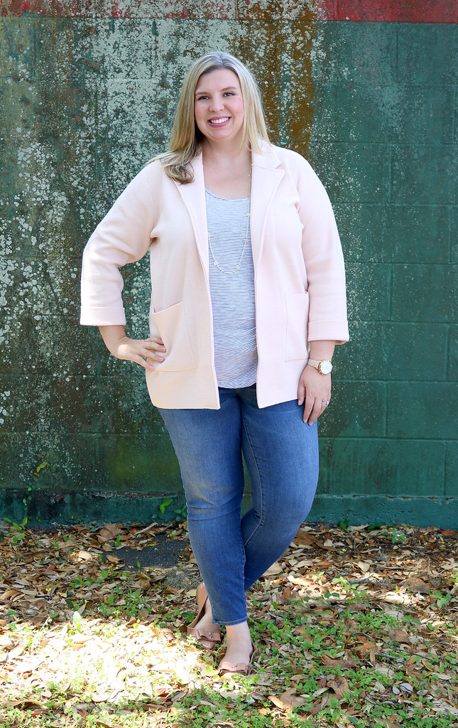 blush sweater cardigan, skinny jeans, black and white stripe luxe tank, bow flats 1