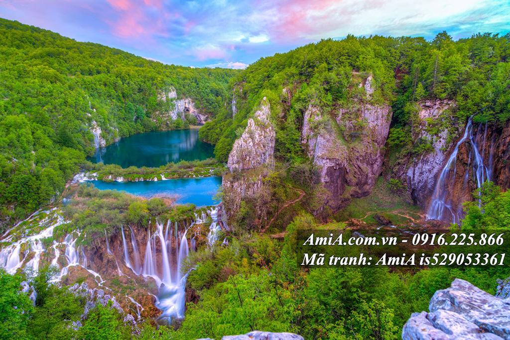 Tranh thiên nhiên thác nước phong cảnh đẹp