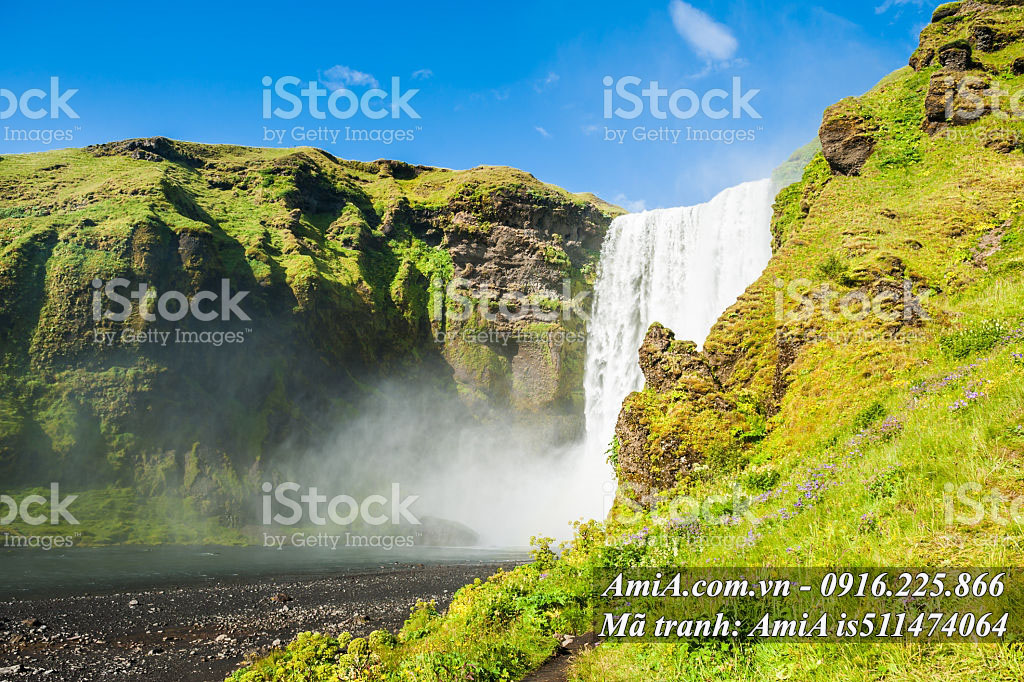 Tranh thác nước treo tường phong cảnh thiên nhiên