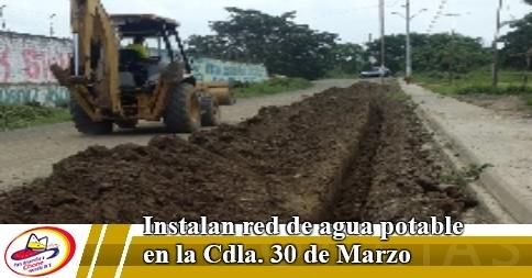 Instalan red de agua potable en la Cdla. 30 de Marzo