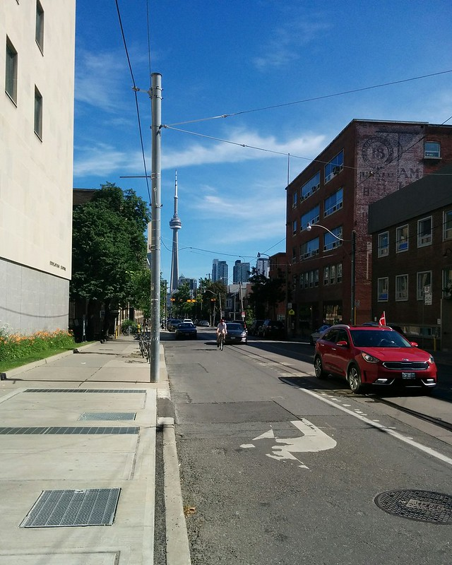 South on McCaul at College #toronto #skyline #cntower #collegestreet #mccaulstreet