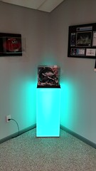 Sign White Pedestal with Color Changing LED Light
