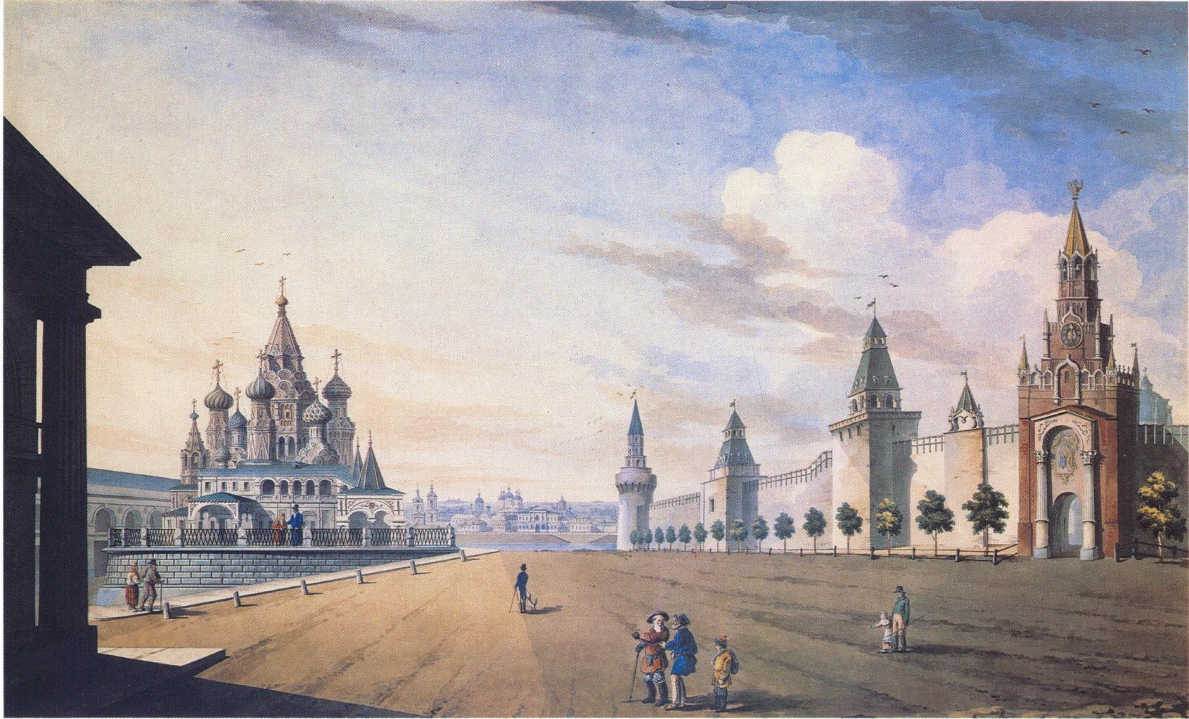 1820-е. Вид Спасских ворот на Красной площади