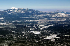 overflying Flagstaff Pulliam Airport (FLG/KFLG), Arizona - south of the Grand Canyon with a touch of winter