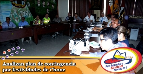 Analizan plan de contingencia por festividades de Chone