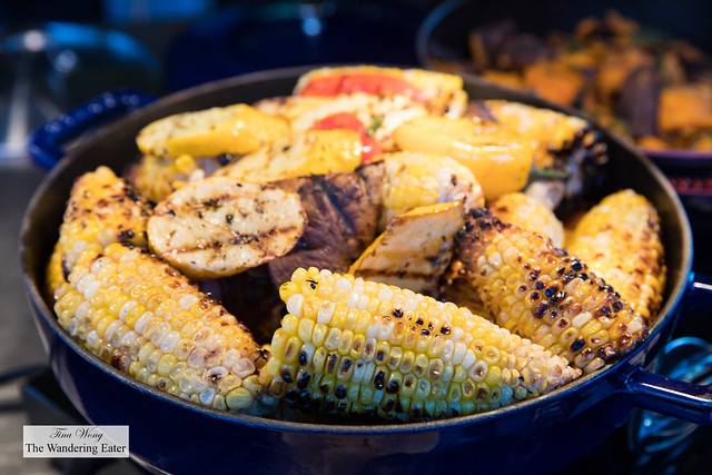 Grilled corn served at the barbecue