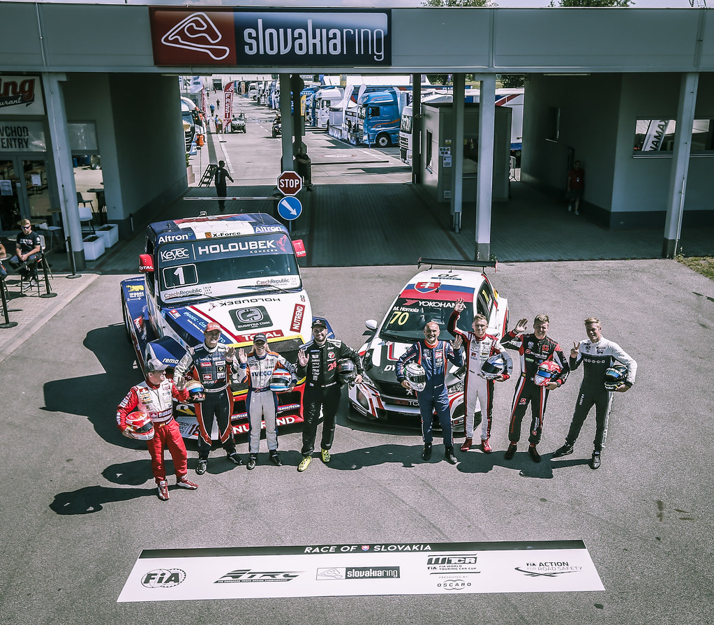 TARQUINI Gabriele, (ita), Hyundai i30 N TCR team BRC Racing, portrait, HOMOLA Mato, (svk), Peugeot 308 TCR team DG Sport Competition, portrait, EHRLACHER Yann, (fra), Honda Civic TCR team ALL-INKL.COM Munnich Motorsport, portrait, BJORK Thed, (swe), Hyundai i30 N TCR team Yvan Muller Racing, portrait during the 2018 FIA WTCR World Touring Car cup race of Slovakia at Slovakia Ring, from july 13 to 15 - Photo Jean Michel Le Meur / DPPI