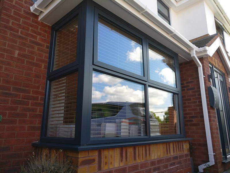 Replacement PVCu windows in Anthracite grey