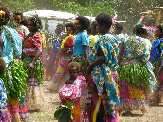 Dance ceremony occurring on Tanna Island, Vanuatu which lucky adventurous travellers got to see.