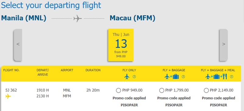 Cebu Pacific Piso Pair Manila to Macau