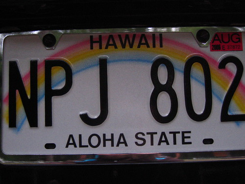 hawaii license plate (they do exist)
