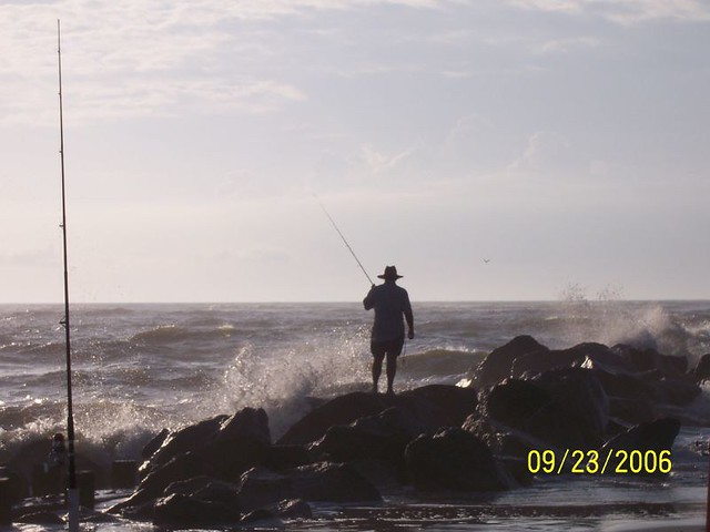 Surf fishing on the rocks at 2nd north folly meet and for South carolina surf fishing