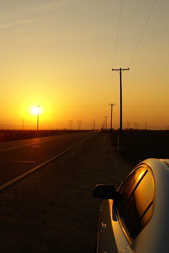 Sunset and Car