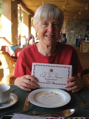 Thelma's brainwave: buying walnut cake from the Cafe de Hunza, to share at lunch