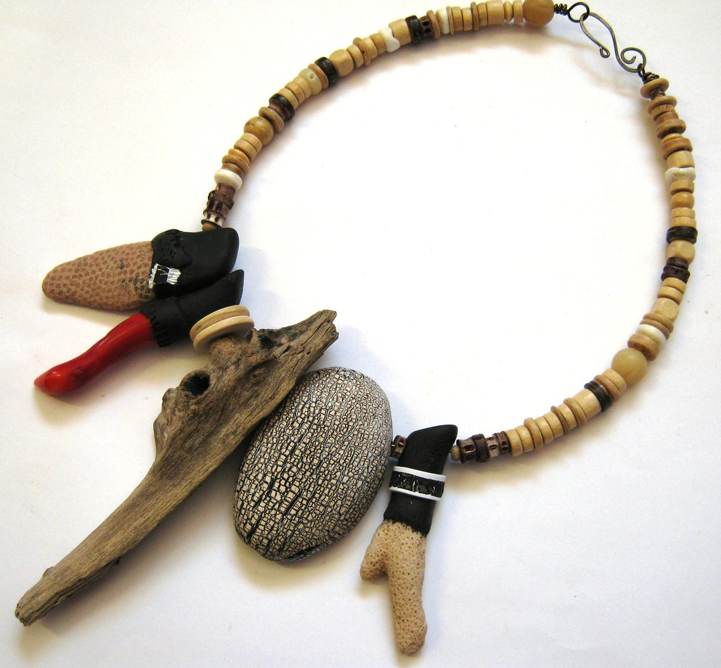 Driftwood, Coral and Polymer Clay Necklace