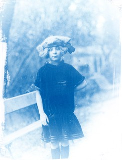Cyanotype print made on an old photographic enlarger directly from a photographic dry plate (glass plate) without using a conventional contact printer and digital negative processing