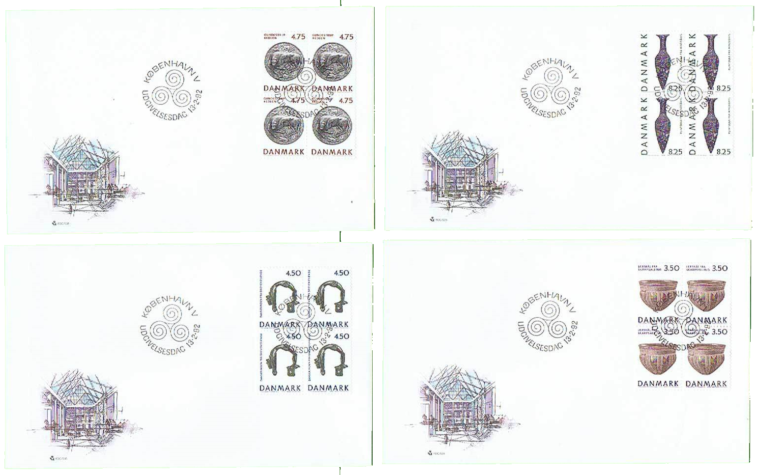 Denmark - Scott #953-956 (1992) first day covers; NIC 2018 - from active eBay auction