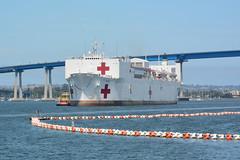 USNS Mercy (T-AH 19) arrives at Naval Base San Diego, July 21. (U.S. Navy/Sarah Burford)
