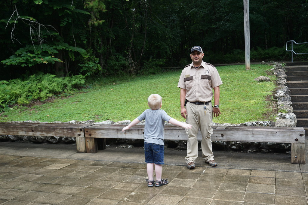 A Florida State Parks Ranger Before Talks to Visitors Before Touring Florida Caverns State Park in Marianna, Fla., May 2018.