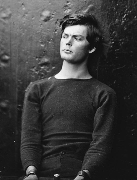 Lincoln assassination conspirator Lewis Powell in custody aboard the USS Saugus, 1865.