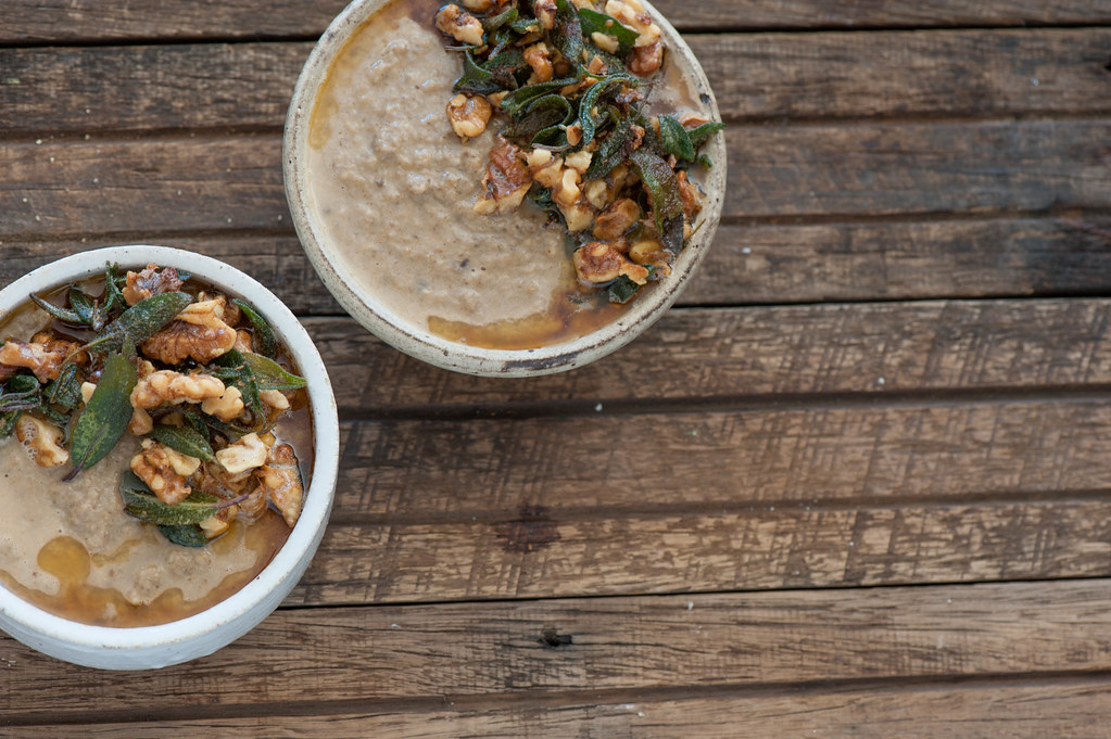 Mushroom Soup with Brown Butter Walnuts & Crispy Sage